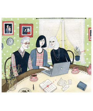 Illustration of a woman sitting at a laptop with her parents