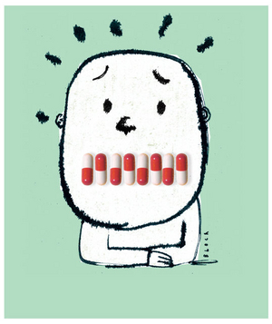 Illustration of a person with pills over their mouth