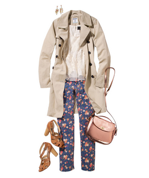 Blue floral print jeans and trench coat
