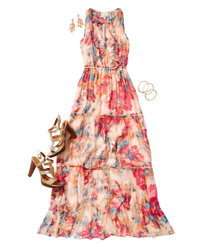 Floral print maxi dress with stacked heels