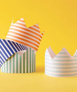 Striped crowns for a birthday party