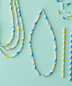 DIY necklaces for striped birthday party