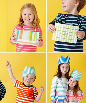 Children at a stripe-themed birthday party
