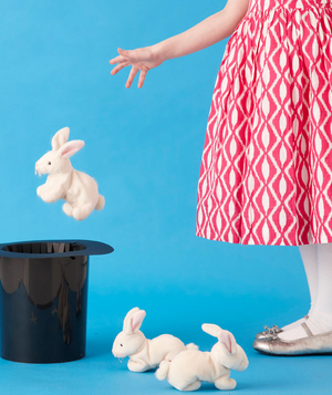 Girl tossing stuffed rabbit into a magician's hat