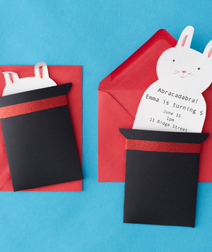 DIY invitations for a magic-themed birthday party