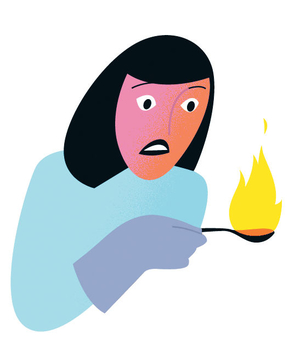 Illustration of a woman holding a spoon on fire