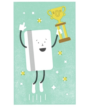 Illustration of a credit card with a trophy