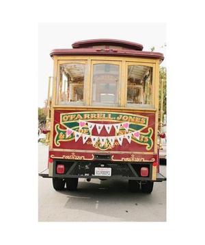 Just married sign on the back of a trolley car