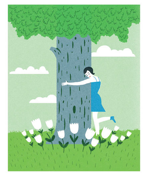 Illustration of a woman hugging a tree