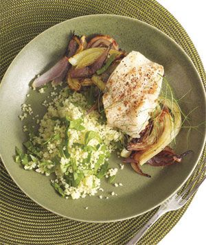 Pan-Roasted Cod and Fennel With Spinach Couscous