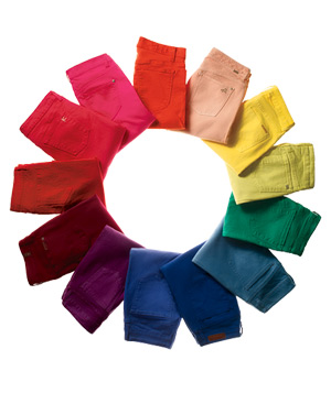 A circle of colored jeans