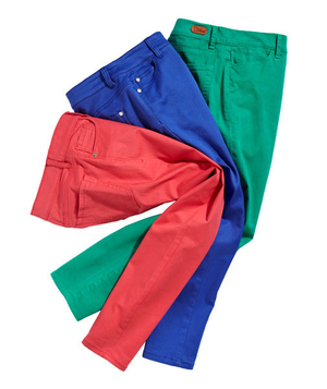 Three pairs of primary color jeans