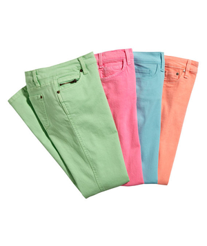 Four pairs of pastel color jeans