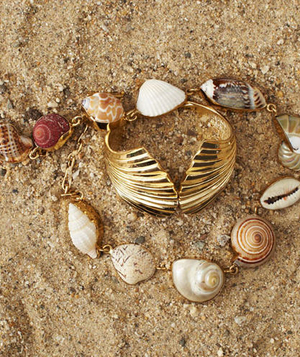 Seashell necklace and gold bracelet
