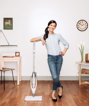 Modern woman cleaning