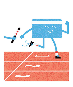 Illustration of a credit card running a relay race
