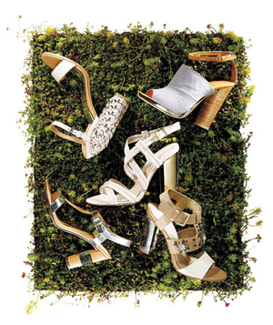 Chunky heels on a patch of grass
