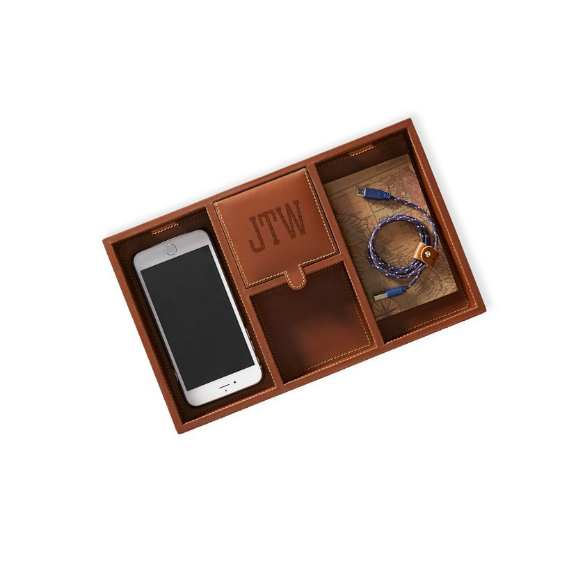 Gift ideas for dad – Mark & Graham Rustic Leather Tech Catchall Tray
