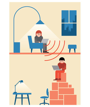 Illustration of neighbors sharing Wi-Fi