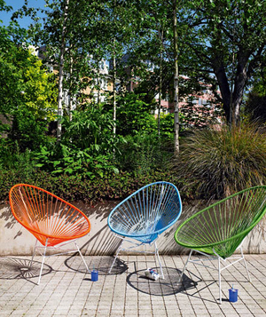 Orange, blue, and green chairs