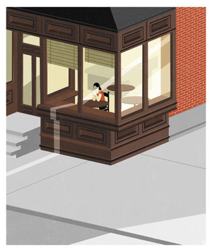 Illustration of a woman sitting at a table near a window