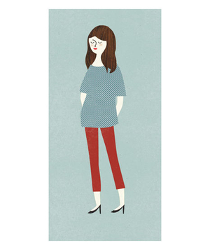 Illustration of a woman wearing red skinny pants