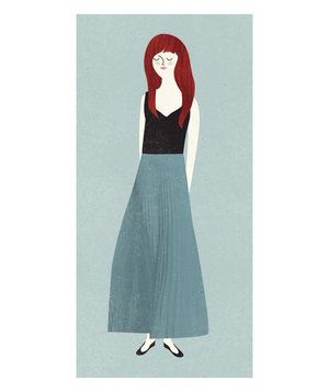 Illustration of a tall woman wearing a full skirt