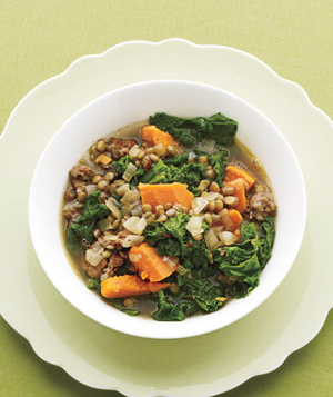 Stew With Lentils, Mustard Greens and Sausage