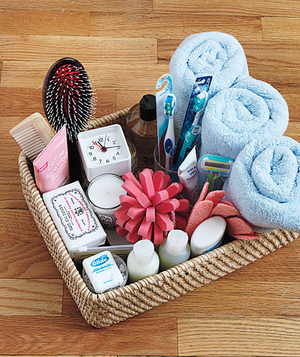 Hospitality basket of bathroom items