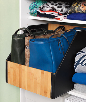 Purses organized in closet bin