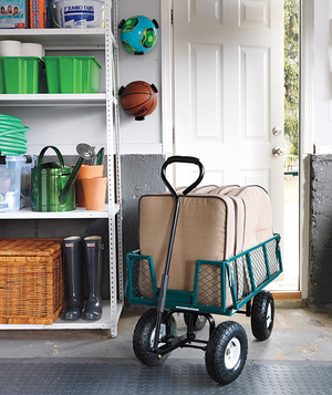 Garden cart and organized garage shelf