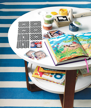 Kids playroom table with shelf