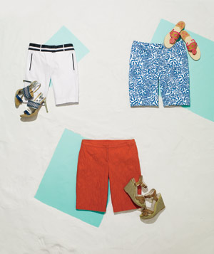 3 styles of bermuda shorts with shoe pairings