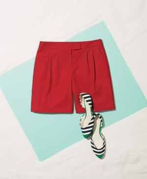 Anne Klein polyester-blend shorts with Pelle Moda canvas flats