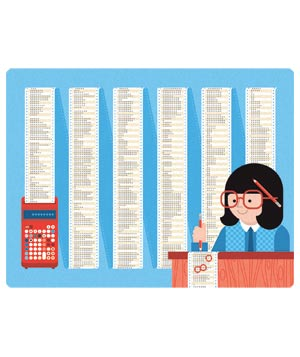 Illustration of woman and adding machine with calculations
