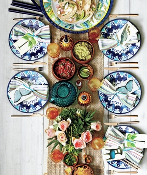 Food and products for outdoor dinner party