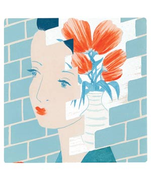 Illustration of woman's face with flowers and brick background