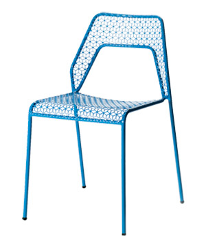 Blue metal outdoor chair