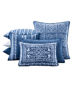 Corsica Tile Outdoor Pillows in Royal Blue
