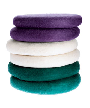 Stack of round seat cushions