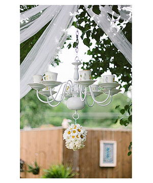 White teacup chandelier for outdoor wedding
