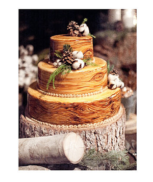 Wood-inspired wedding cake