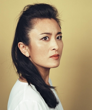 Woman with long faux hawk style