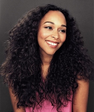 Woman wearing her long curly hair down