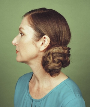 Profile of woman with side chignon