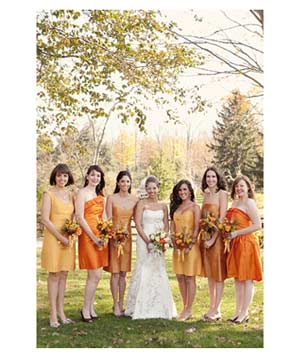 Bridal party with shades of orange
