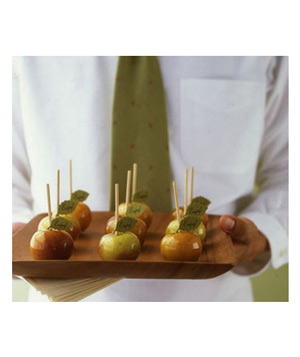 Candy apples on a tray