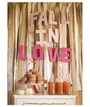Fall in Love backdrop at wedding