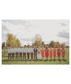 Large fall wedding party in backyard