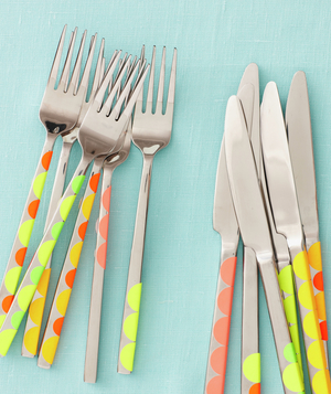 Flatware decorated with sticky dots